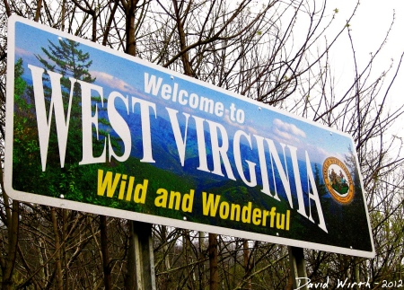 west virginia wild and wonderful sign welcome state border (Large)