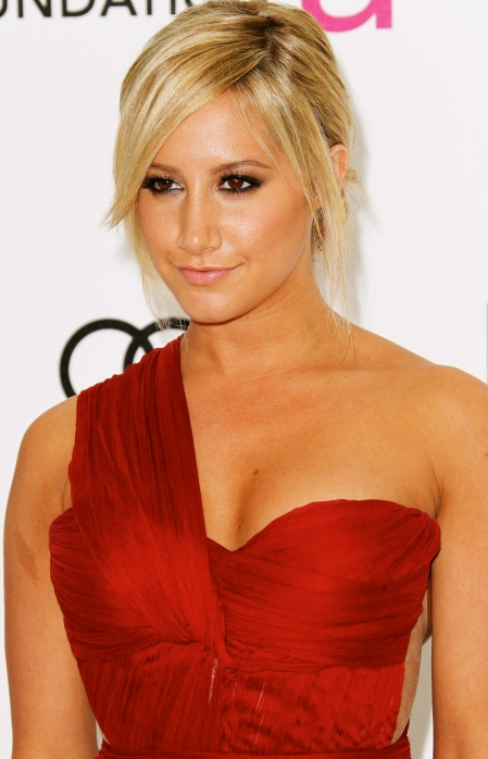 Ashley Tisdale cleavage in red dress at 20th Elton John Academy Awards Party-04