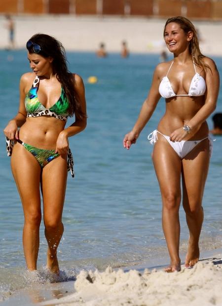 Sam Faiers and Jessica Wright in Bikinis the Dubai Beach