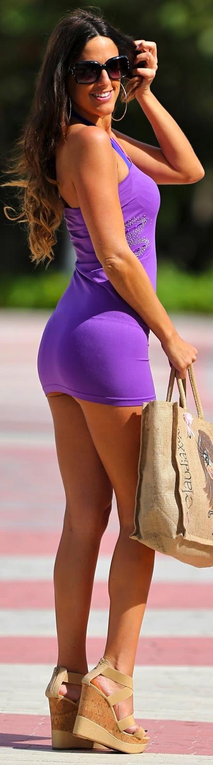 Claudia Romani Photos in Purple Mini Dress Leaving her apartment in Miami Beach CelebsNext 0003-1