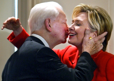 "**FILE**In this July 26, 2004 file photo, Sen. Hillary Clinton, D-NY, is embraced by Sen. Robert Byrd, D-W.Va., at a bookstore in New York where they were launching his book ""Losing America: Confronting a Reckless and Arrogant Presidency."" Just hours before she was to speak at the Democratic National Convention in Boston, Clinton introduced Byrd as her mentor and told the audience that he has been a champion of the U.S. Constitution. (AP Photo/Bebeto Matthews, File)"