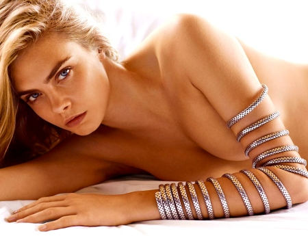 Cara Delevingne strips off for the spring 2015 campaign for jewelry firm, John Hardy. The 22-year-old shows off the luxury brand's latest designs in this risque shoot, including its Twenty Coil Bracelet. *Must credit Splash/John Hardy* Pictured: Cara Delevingne for John Hardy Ref: SPL931522 210115 Picture by: Splash/John Hardy Splash News and Pictures Los Angeles: 310-821-2666 New York: 212-619-2666 London: 870-934-2666 photodesk@splashnews.com